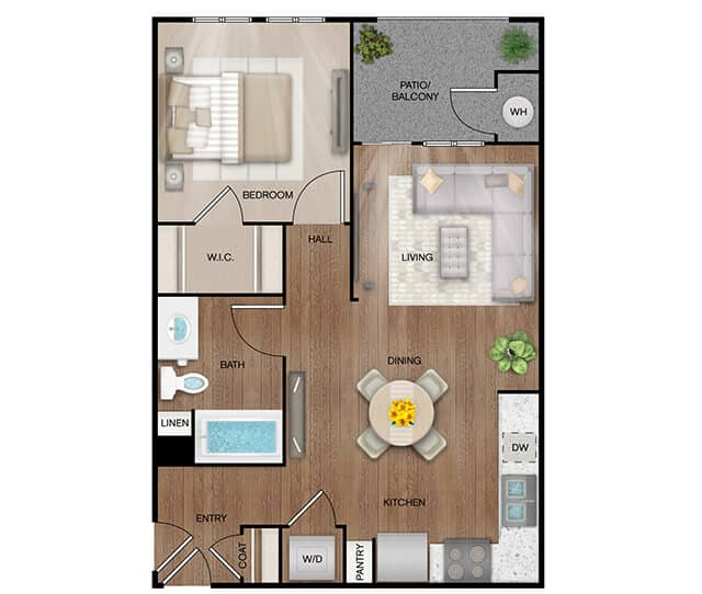 Unit A1 floor plan. 1 bed, 1 bath, 753 square feet