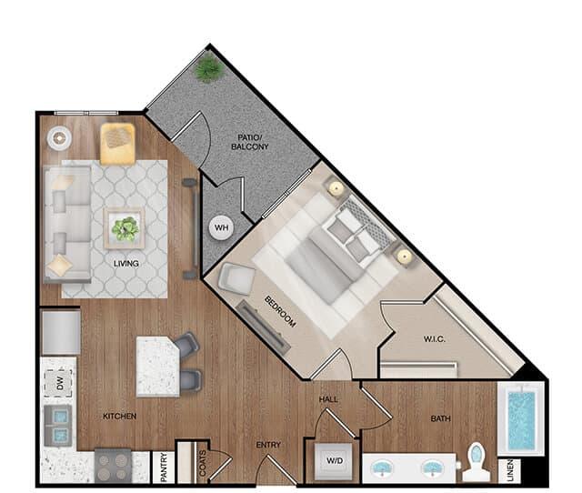 Unit A3 floor plan. 1 bed, 1 bath, 750 square feet