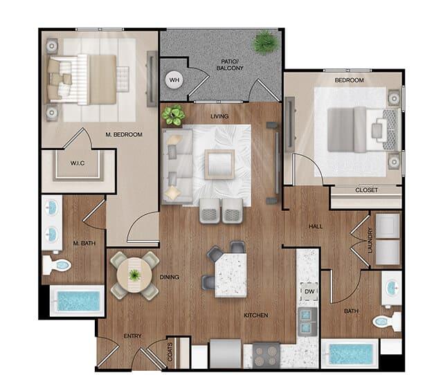 Unit B1 floor plan. 2 bed, 2 bath, 1,064 square feet
