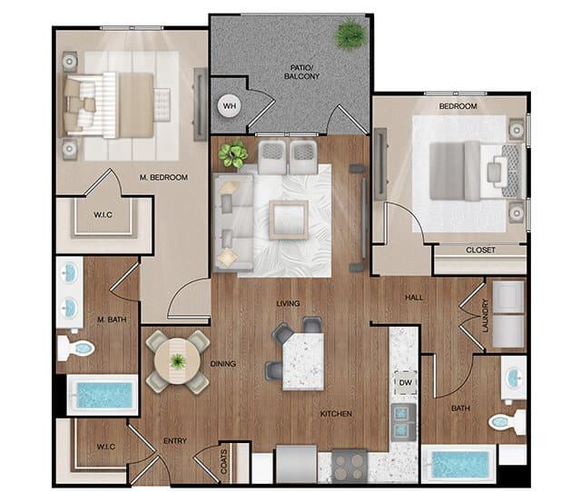 Unit B1 floor plan. 2 bed, 2 bath, 1,105 square feet
