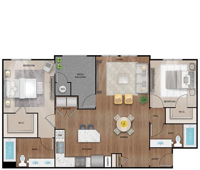 Unit B2 floor plan. 2 bed, 2 bath, 750 square feet