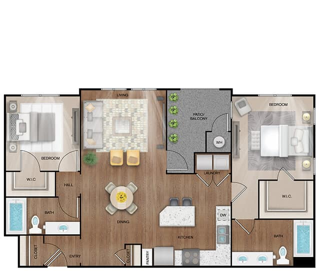 Unit B2 Alt-A floor plan. 2 bed, 2 bath, 1,199 square feet