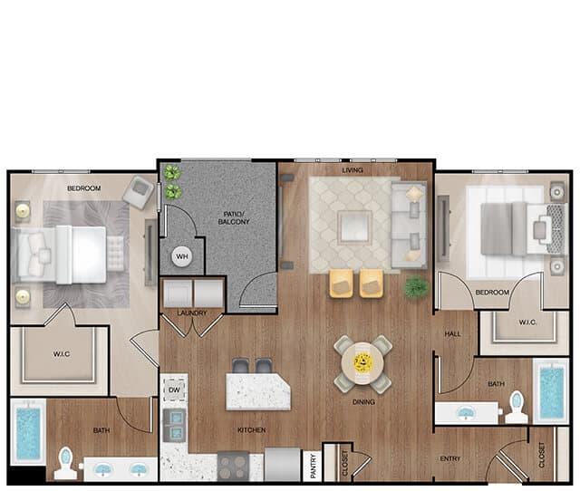 Unit B2 Alt-B floor plan. 2 bed, 2 bath, 1,292 square feet