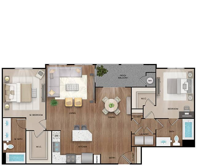 Unit B3 floor plan. 2 bed, 2 bath, 1,274 square feet