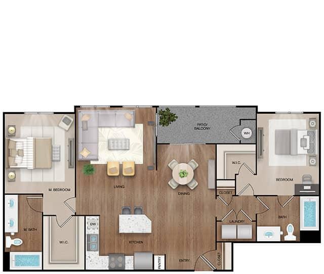 Unit B3 floor plan. 2 bed, 2 bath, 1,274 square feet