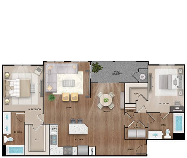 Unit B3 floor plan. 2 bed, 2 bath, 1,292 square feet