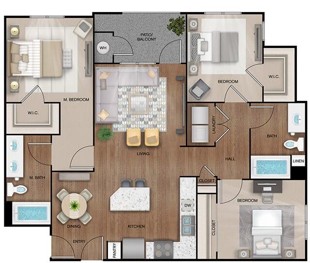 Unit C1 floor plan. 3 bed, 2 bath, 1,264 square feet