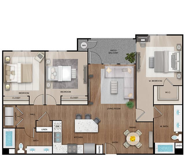 Unit C2 floor plan. 3 bed, 2 bath, 1,356 square feet