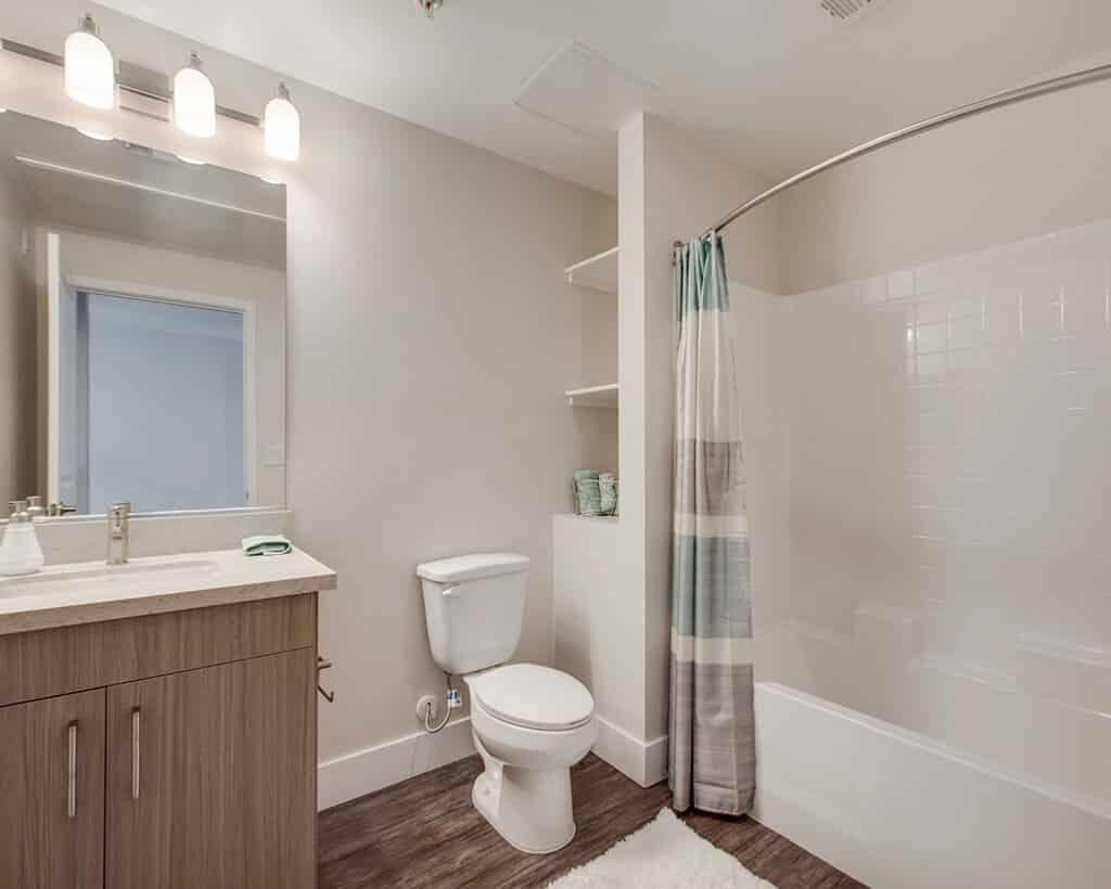 Bathroom with curtain, toilet, mirror, bathtub and cabinet